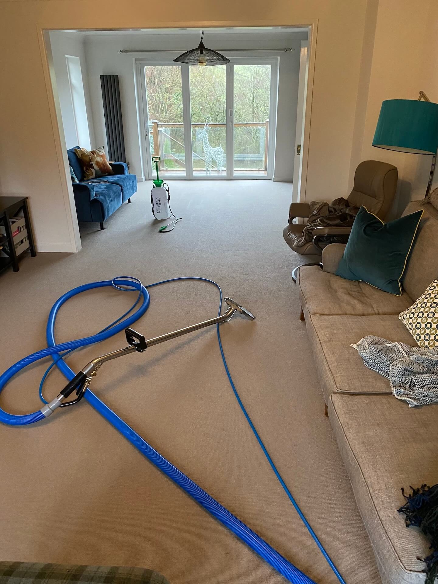 Living room carpet cleaning service